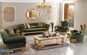 Sofa Tamu Mewah Ukir Klasik Jepara Gold Duco