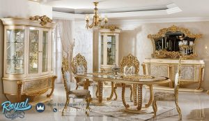 Model Set Meja Makan Klasik Gold Luxury Terbaru