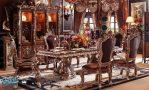 Set Meja Kursi Makan Jati Ukir Klasik Eropa