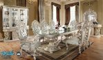 Set Meja Makan Mewah Ukir Klasik Jepara Silver Terbaru