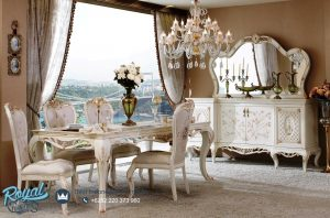 Desain Meja Kursi Makan Mewah Modern Putih Duco Terbaru