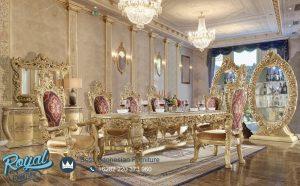 Set Meja Kursi Makan Mewah Klasik Eropa Gold Duco