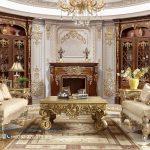 Set Sofa Tamu Mewah Klasik Gold Living Ukiran Jepara Terbaru