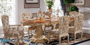 Desain Set Meja Makan Mewah Ukir Jepara Klasik Luxury Modern Terbaru