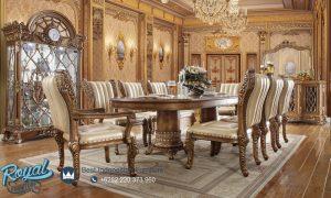 Set Meja Makan Klasik Mewah Ukiran Jepara Terbaru Davinci Eropan