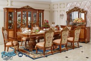 Desain Dining Set Jati Ukir Jepara Klasik Mewah Breakfront