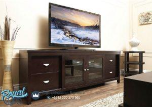 Meja Tv Kayu Jati Minimalis Mewah Brown Natural Wood Terbaru