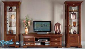 Bufet Tv Kayu Jati Minimalis Klasik Natural Wooden