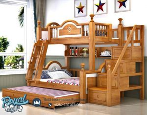 Desain Tempat Tidur Susun Tingkat Kayu Jati Moderna