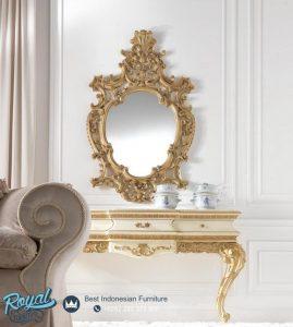 Meja Konsul Modern Mewah Ukir Jepara White Gold Duco Victorian