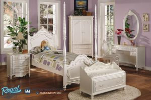 Tempat Tidur Anak Perempuan Modern Putih Ukiran Jepara Kanopi