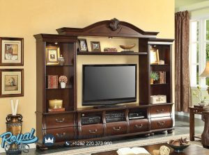 Lemari Tv Kayu Jati Klasik Brown Natural
