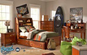 Set Tempat Tidur Anak Kayu Jati Minimalis Natural