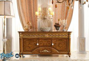 Bufet Hias Ruang Tamu Kayu Jati Ukir Klasik Italian Style