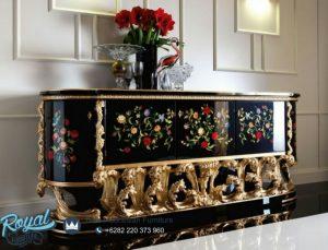 Bufet Klasik Ukir Jepara Eropan Style Black Painting