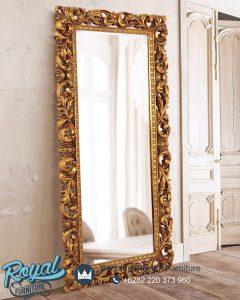 Cermin Hias Dinding Ukir Jepara Gold