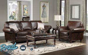 Model Sofa Tamu Minimalis Klasik Brown Leather