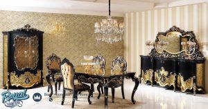Model Set Meja Makan Mewah Ukir Klasik Black Gold