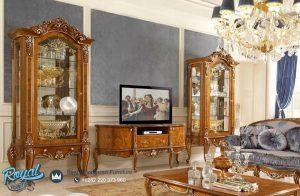 Bufet Tv Jati Jepara Ukir Klasik Jepara Terbaru