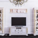 Set Bufet Tv Almari Hias Minimalis Putih Duco Afina