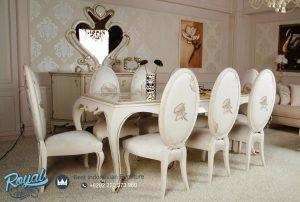Set Meja Kursi Makan Mewah Modern Oval Putih Duco