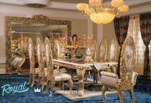 Set Meja Makan Mewah Klasik Eropa Gold Duco