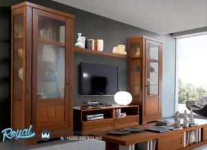 Bufet Tv Jati Minimalis Mewah Natural Wood Terbaru