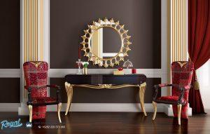 Desain Meja Konsul Modern Black Gold Leaf Console Table Terbaru
