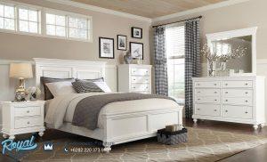Desain Tempat Tidur Kayu Minimalis Warna Putih Duco Terbaru