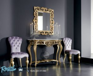 Meja Konsul Mewah Klasik Gold Ukir Jepara With Purple Chair