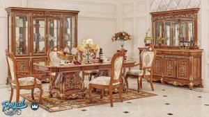Ruang Meja Makan Kayu Jati Ukir Jepara Natural Klasik Terbaru