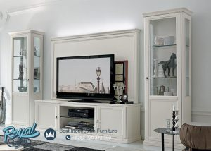 Bufet Tv Kayu Minimalis Mewah Warna Putih Duco Gostinaya Stenka