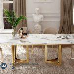 Set Meja Makan Italian Luxury Stainless Steel Gold
