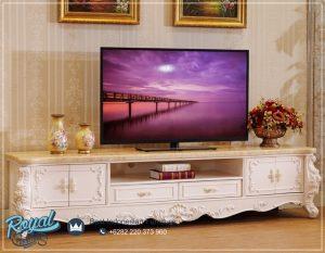 Meja Ruang Tv Ukir Modern Warna Putih Italian